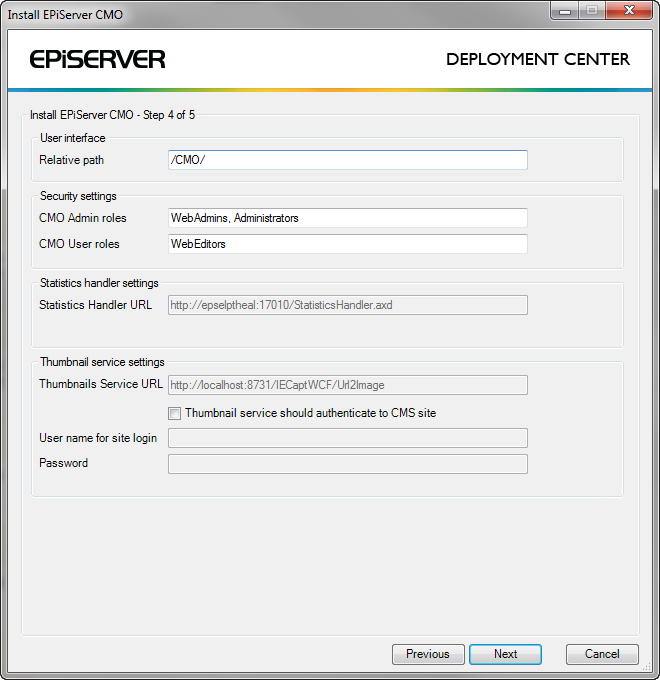 How to make settings in EPiServer CMO 2.0 during installation