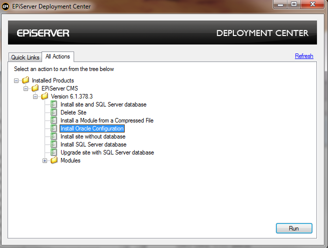 Deployment Center with Oracle Install. option