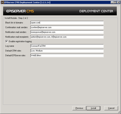 Connect for CRM Template settings