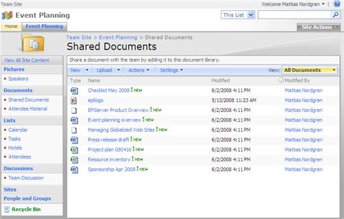 Integrating EPiServer CMS 5 with Microsoft SharePoint – user exam