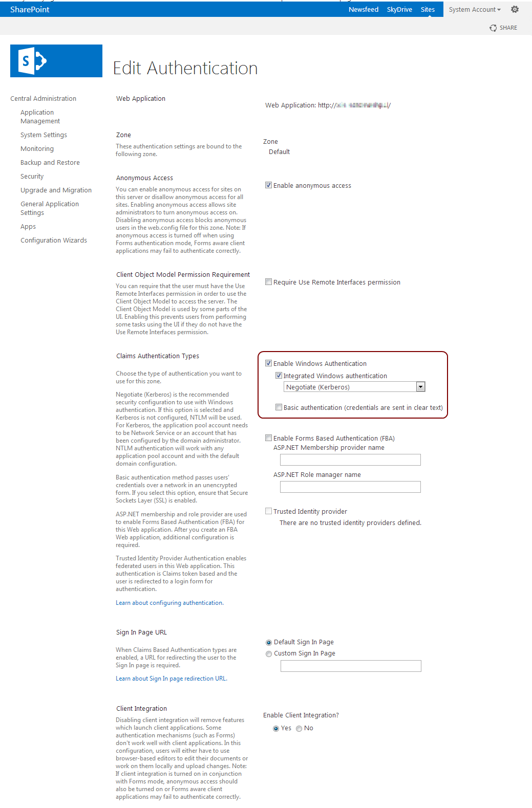 Configure SharePoint authentication providers