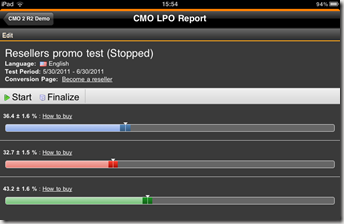 LPO Report gadget - compact view on iPad