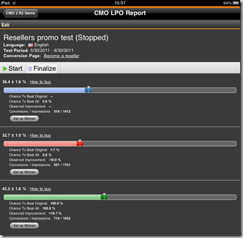 LPO Report gadget - test finalization on iPad