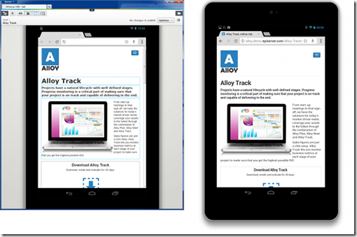 Browser and device rendering side-by-side